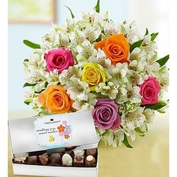 Assorted Rose and Lily Bouquet with Chocolates