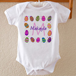 Personalized Colorful Eggs Easter Baby Bodysuit
