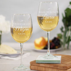 Engraved Bridal Party Wine Glass