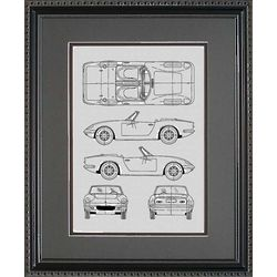 Lotus 11x14 Framed Blueprint Drawing