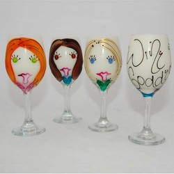 Handpainted Girlfriend Wine Goddess Wine Glass