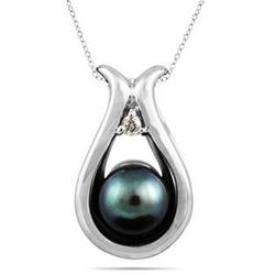Freshwater Black Pearl and Diamond Pendant in White Gold