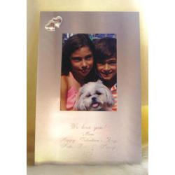 Personalized Brush Silver with Hearts Picture Frame