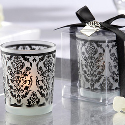 Damask Black and White Tea Light Wedding Favors