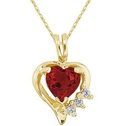 Heart Shape Garnet Gemstone and Diamond Pendant