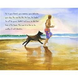 Beachside Jogging Personalized Fine Art Print