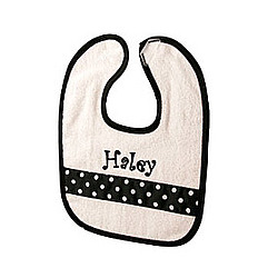 Personalized Baby Bib with Black & White Polka Dot Ribbon Accent
