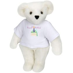 "15"" Happy 1st Birthday Cake T-Shirt Teddy Bear"