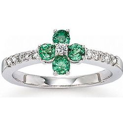 14k White Gold Emerald and Diamond Fashion Ring