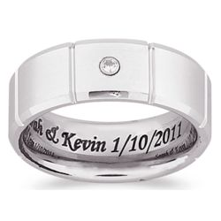 Men's White Tungsten Inside Laser Engraved Cubic Zirconia Band