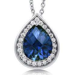 Pear Cut Blue Cubic Zirconia and Sterling Silver Halo Neclace