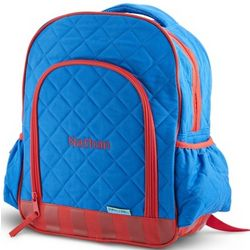 Red and Blue Quilted Backpack