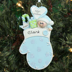 Baby's First Christmas Blue Mitten Ornament