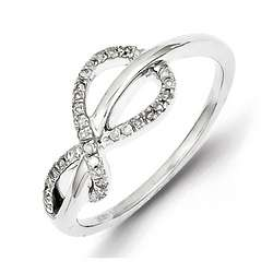 Sterling Silver Twisted Infinity Diamond Ring