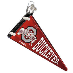 Ohio State Buckeyes Glass Pennant Personalized Ornament