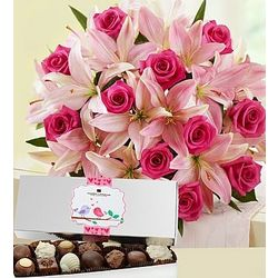 Magnificent Pink Rose and Lily with Chocolates