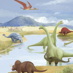Dinosaur Lake Canvas Wall Art