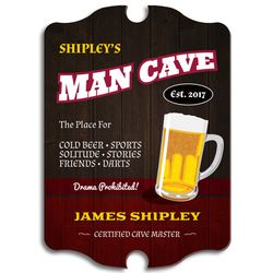 Certified Man Cave Personalized Wooden Sign