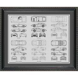Maserati Multiple Makes 20x24 Framed Blueprint