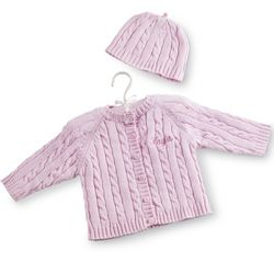 Pink Knit Baby Sweater with Cap