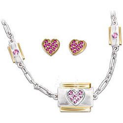 Always in My Heart Italian Charm Necklace and Earrings Set