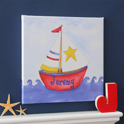 Ahoy! Personalized Sailboat Canvas Art