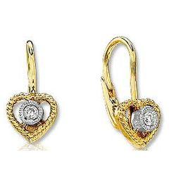 14k Yellow Gold Bezel Diamond Heart Childrens Earrings