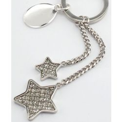 Engraved Glitter Galore Double Stars Key Chain