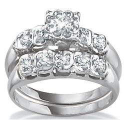 Platinum Over Sterling Silver Diamond Swirled Wedding Ring Set