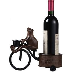 Cast Iron High Wheel Wine Holder with Frog