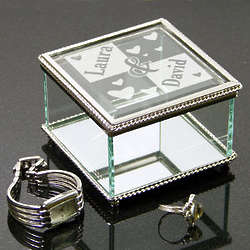 Engraved Couple's Glass Jewelry Box