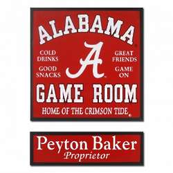Alabama Game Room Football Sign