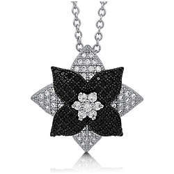 Cubic Zirconia and Sterling Silver Two-Tone Flower Pendant