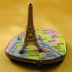 Eiffel Tower on Paris Map Limoges Box