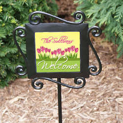 Personalized Spring Tulips Garden Stake