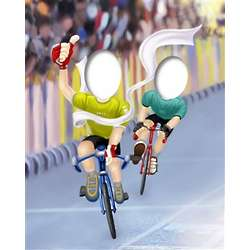 Male or Female Racing Bicycles Caricature from Photo Art Print