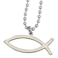 Stainless Steel Ichthys Pendant on a Beaded Chain