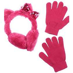 Furry Kitty Earmuffs and Gloves