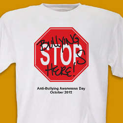 Bullying Stops Here Anti Bullying Awareness T-Shirt