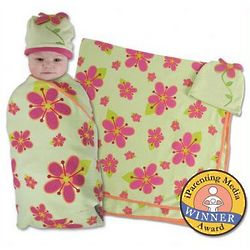 Posies Swaddle Blanket and Cap Set