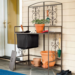 Steel Scroll Potting Bench with Lift-Out Soil Reservoir