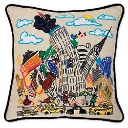 Hand Embroidered Empire State Building Pillow