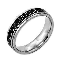 Men's Black Enamel Titanium Promise Ring