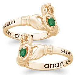 Gold Over Sterling Name and Date Birthstone Claddagh Ring