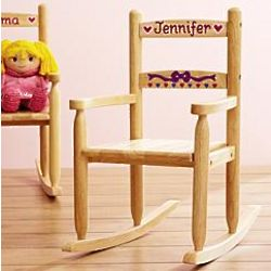 Personalized Wooden Rocking Chair with Hearts Design