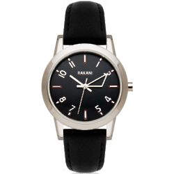 +5 Black with Black Leather Band Watch