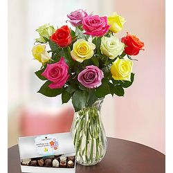 Assorted Roses with Chocolates