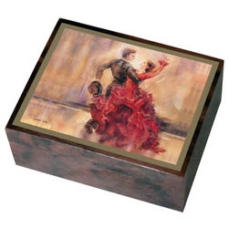 Wooden Italian Flamenco Music Box