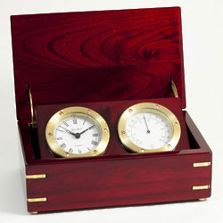 Clock Thermometer in Wood Box