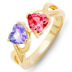 2-Heart Birthstone Gold Infinity Ring